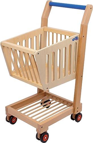 petit Foot  2499 Caddy en bois  Naturel , accessoires pour épicerie, avec roues en caoutchouc, à partir de 3 ans