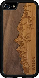 Wooden Phone Case (Sawtooth Mountains | Walnut Sky) Compatible with iPhone 7, iPhone 8