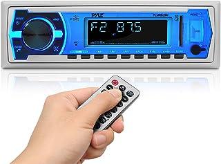 Pyle Marine - Radio estéreo Bluetooth de 12 V, estilo DIN único, sistema de receptor de radio en el tablero con micrófono ...