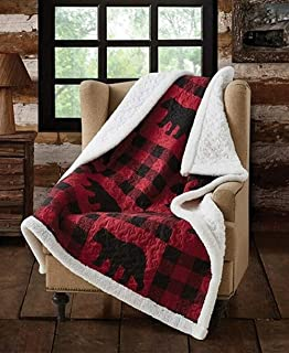 Virah Bella Buffalo Plaid Rustic Black Bear Quilt Sherpa Throw Blanket (Red, Black)