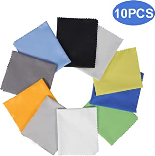 """10 Pack Assorted Colors Microfiber Cleaning Cloths - 6"""" x 7"""" Microfiber Glasses Cloth - Great for Cleaning Eyeglasses, Cell Phones, Screens, Lenses, Glasses, Screens and All Delicate Surface"""