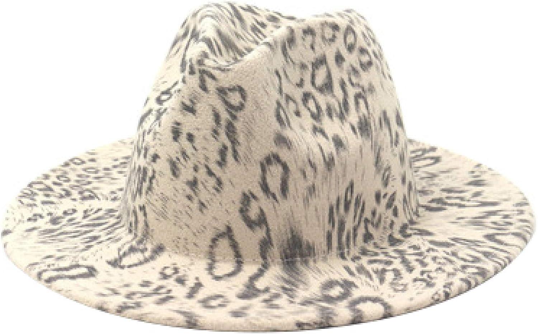 Wool Felt Fedora Hat Mens Womens Classic Leopard Multicolor Print Wide Brim Trilby Panama Hat for Outdoor Church