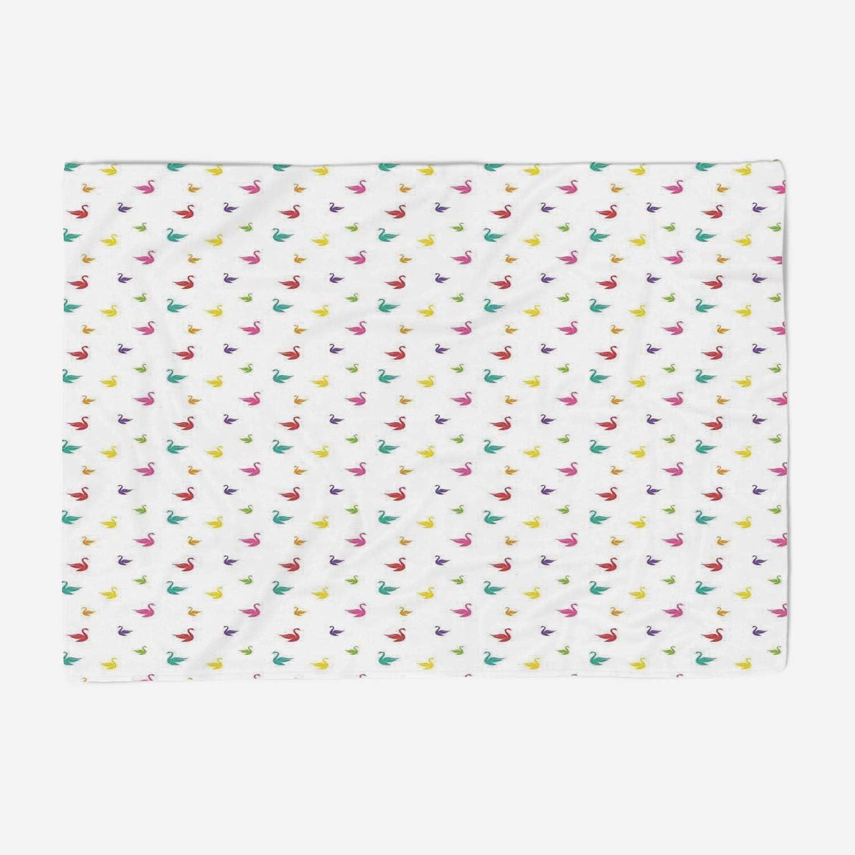 YOLIYANA Blanket Bedspread Soft Fleece Throw Blanket 49x39 inches Swan,Rainbow colord Cute Swans Pattern Birds Wings Themed Nursery Decor Kids Playroom Art Print,Multi