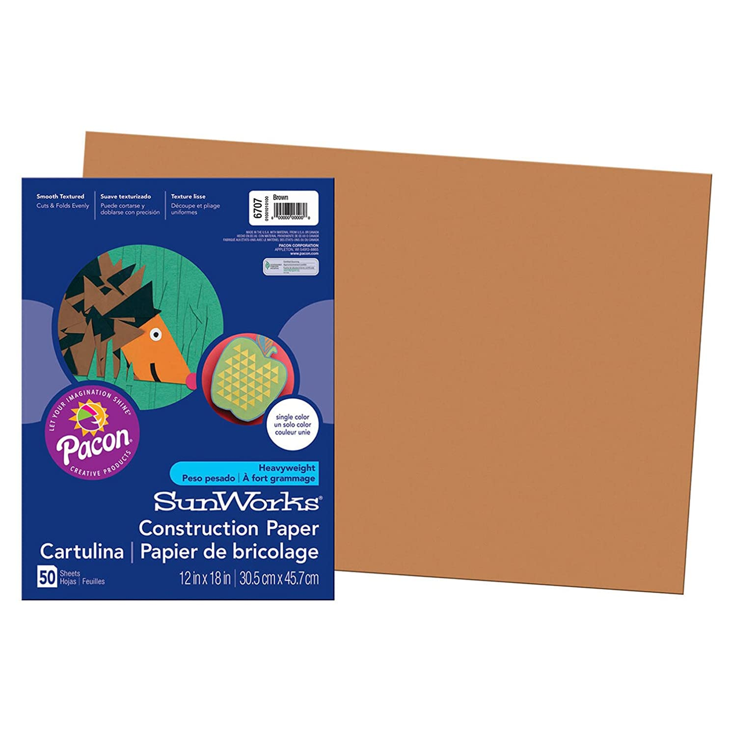 SunWorks Construction Paper, Brown,  12
