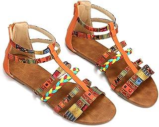 c6adafe7f327fd Gracosy Sandales Femmes Plates, Chaussures Tongs Été Bohème Spartiates en  Cuir PU à Talons Plats