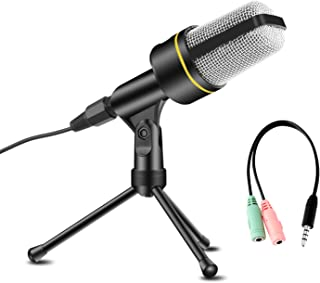 USHAWN Condenser Microphone Professional Studio Recording Mic with Tripod Stand for Broadcasting Chatting Interview Video Conference YouTube Recording Perfect Fit Your PC Laptop and Phones