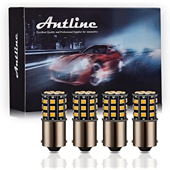 AUXLIGHT 1156 7506 1141 BA15S 1400 Lumens Super Bright Low Power LED Light Bulbs Replacements for Turn Signal Blinker Parking Lights and Side Marker Lights Pack of 2 Amber Yellow