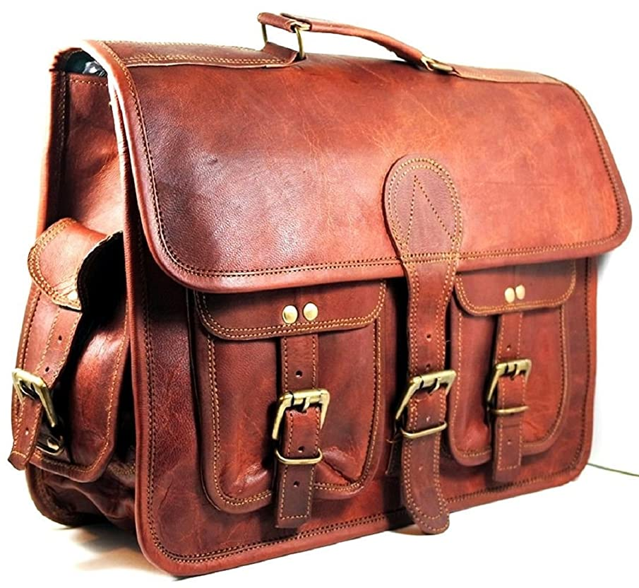 Znt Bags Original Leather Messenger Bag - 16 Inch Briefcase Messenger Bag Brown Leather with Crossbody Shoulder Strap - Great Messenger Bag for Laptops, Business, Travel, or School
