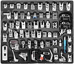 YEQIN 62pcs Domestic Sewing Machine Presser Foot Feet Set Multi-Functional Presser Foot Set for Singer, Brother, Janome,Kenmore, Babylock,Elna,Toyota,New Home, Etc(62 PCS)