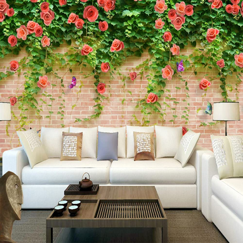 WDNBQT Mural Louisville-Jefferson County Mall - Custom Large Rose Brick Stereo famous Wallpaper 3D