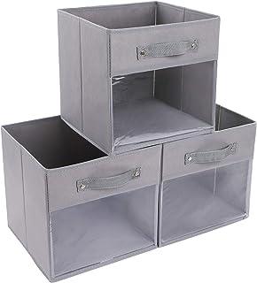 DIMJ Lot de 3 Boites de Rangement Pliables,Panier de Rangement en Tissu, Caisse Rangement avec Poignée Renforcée , Étagère...
