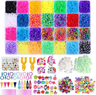 HanShe 11500+ Rubber Loom Bands Rainbow Rubber Bands Loom Bands kit for Bracelet Loom Bands Refill Including 600 Clips 200 Beads 90+ Luminous Beads 52 ABC Beads 25 Charms 10 Backpack Hooks
