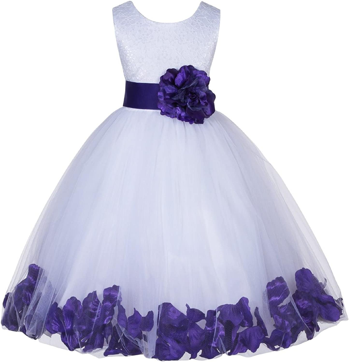 Wedding Pageant Floral Lace top Rose Petals White Tulle Flower Girl Dress 165T