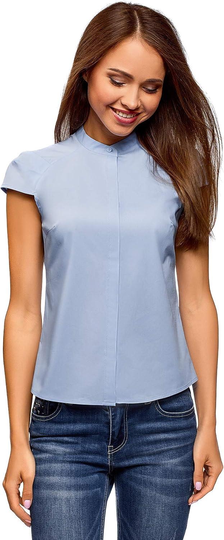 oodji Ultra Women's Stand Collar Raglan Sleeve Shirt