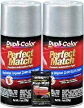 Dupli-Color Bright Silver Metallic Perfect Match Automotive Paint for Chrysler Vehicles - 8 oz, Bundles with Prep Wipe (3 Items)
