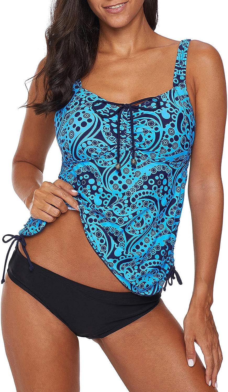 Aleumdr Womens V Neck Racerback Printed Tankini Swimsuits with Swim Shorts S  XXXL