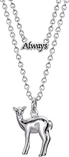 """HARRY POTTER """"Always"""" and Doe Patronus Silver Plated Necklace Set"""