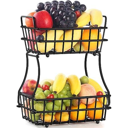dorado AniU cestas decorativas para el hogar pan estante de almacenamiento hueco para frutas cocina verduras aperitivos Frutero desmontable de alambre de hierro para frutas gran capacidad
