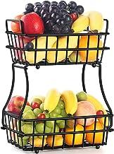 TomCare 2-Tier Fruit Basket Metal Fruit Bowl Bread Baskets Detachable Fruit Holder Kitchen Storage Baskets Stand - Screws ...
