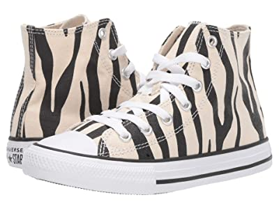 Converse Kids Chuck Taylor(r) All Star(r) Zebra Print Hi (Little Kid) (Black/Greige/White) Girls Shoes