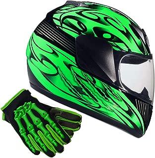 Typhoon Youth Kids Full Face Helmet with Shield & Gloves Combo Motorcycle Street Dirt Bike - Matte Green (Medium)