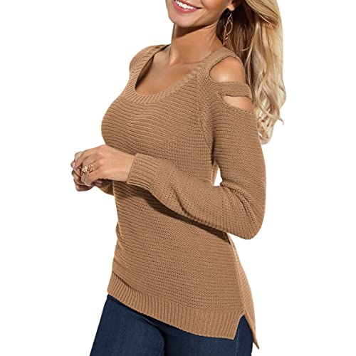 Bigyonger Womens Cold Shoulder Knitted Sweaters Fall Long Sleeve Scoop Neck  Pullover Jumpers abbd35a50