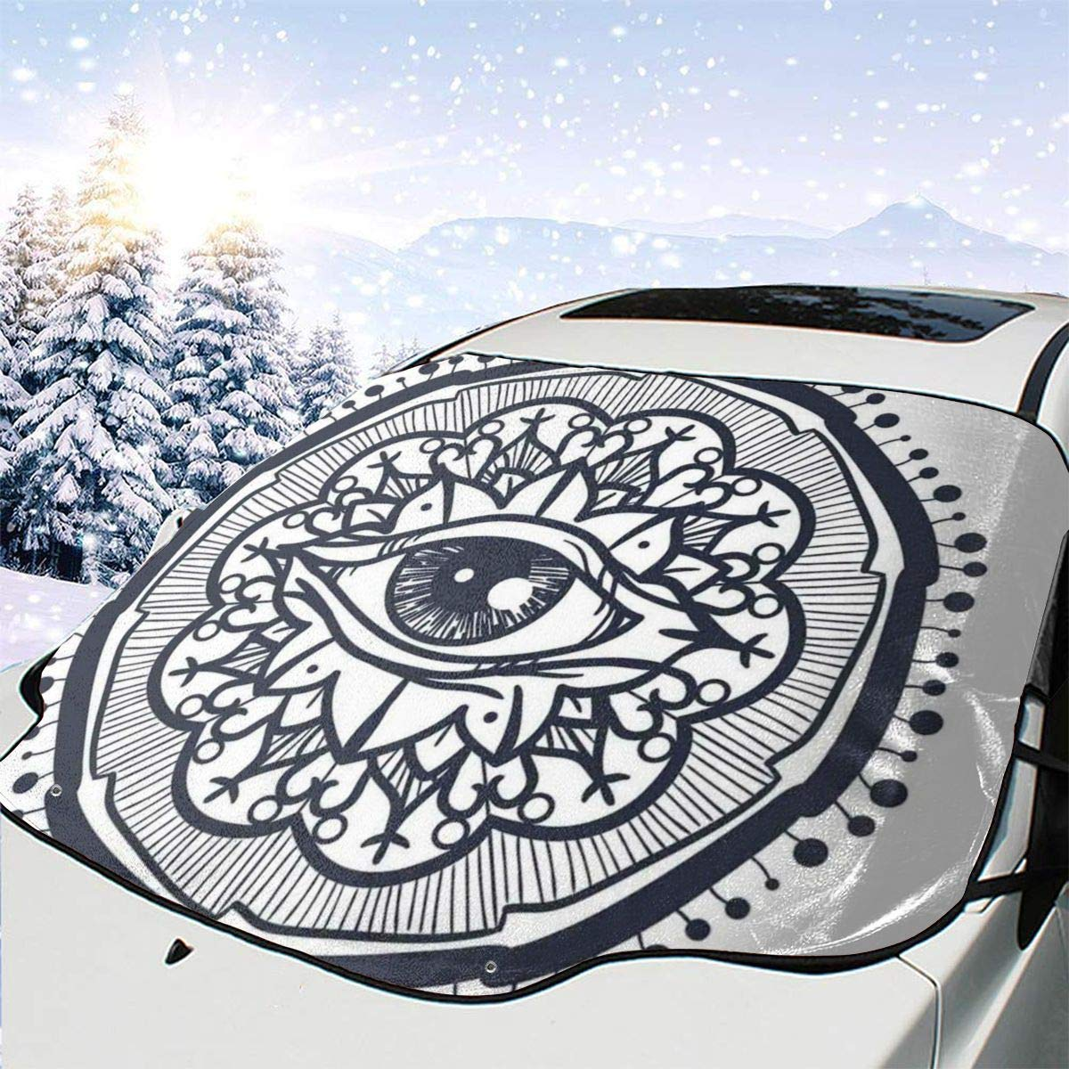 Car Front Window Windshield Snow Realistic famous Retro Cover Low price Patt Eye