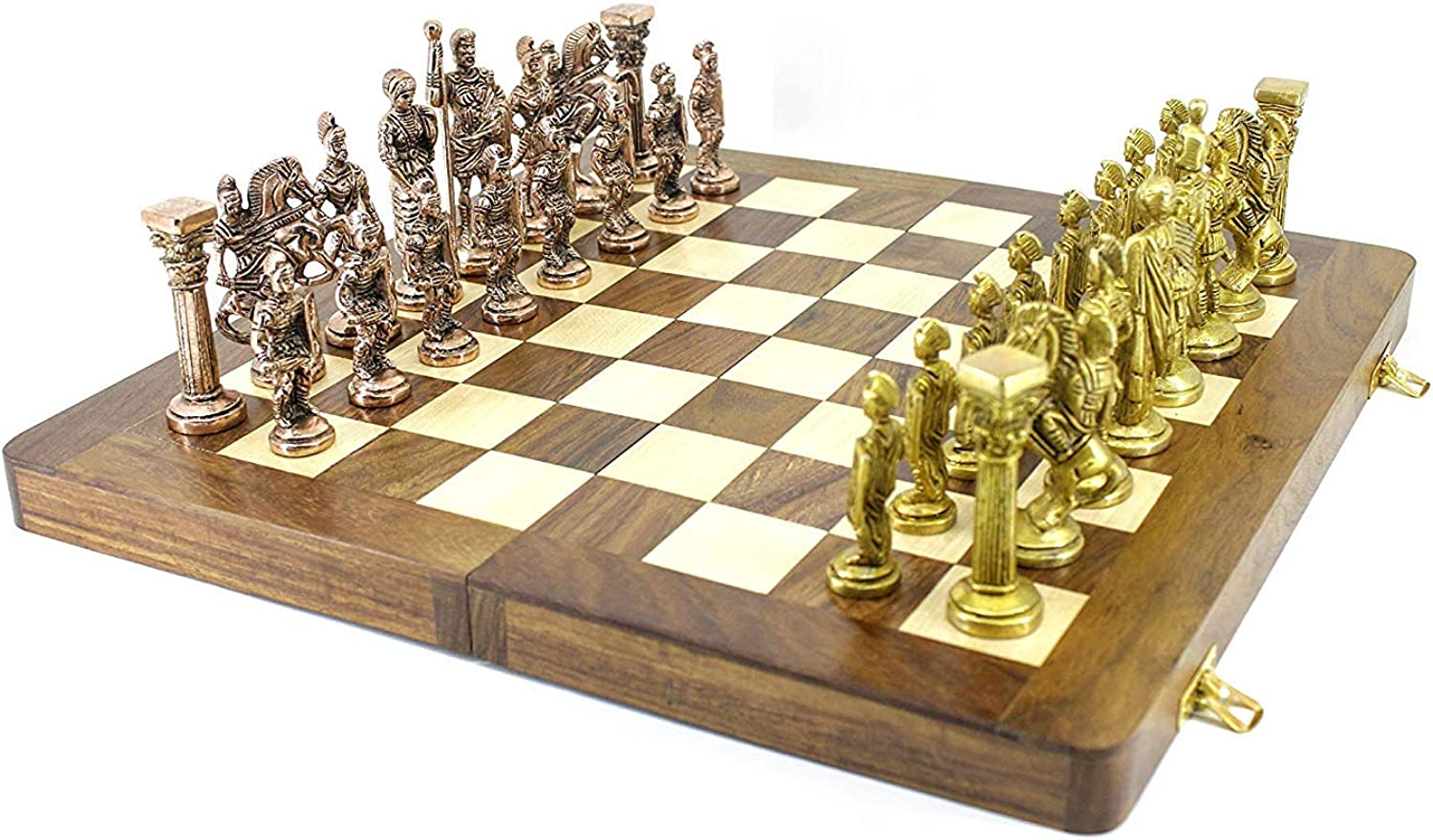 Fasherati Folding Chess Board Größe 16  x 16  with All Solid Brass Metal Parts