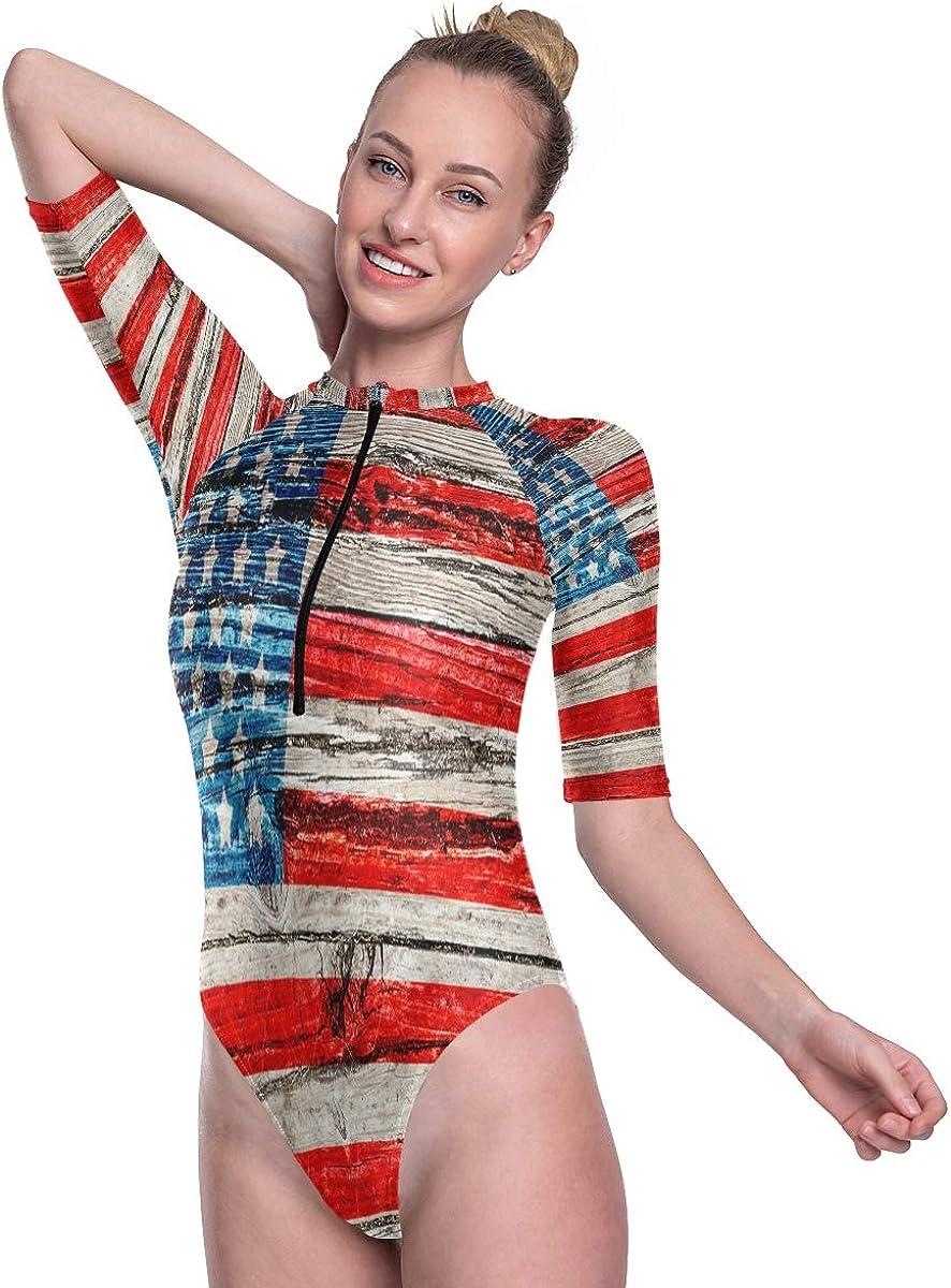 SLHFPX Womens Zip Up Printed Short Sleeve 1 Piece Rash Guard Swimsuit American Flag Vintage Wood Swimwear