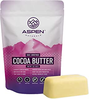 Raw Unrefined Pure Cocoa Butter - Best Organic Moisturizer from Cacao Beans for Healing Dry Skin, Acne, and Cellulite - Natural Stretch Mark Cream, Anti Aging Solution - Aspen Naturals Brand