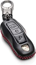 Vitodeco Genuine Leather Keyless Entry Remote Control Smart Key Case Cover with Leather Key Chain for Porsche Panamera, Macan, Cayenne, 911 (3 Buttons, Black/Red)