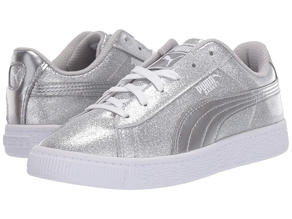 Puma Kids Basket Metallic (Little Kid) (Puma Silver/Gray Violet/Puma White) Kids Shoes