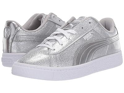 Puma Kids Basket Metallic (Little Kid) (Puma Silver/Gray Violet/Puma White) Kids Shoes