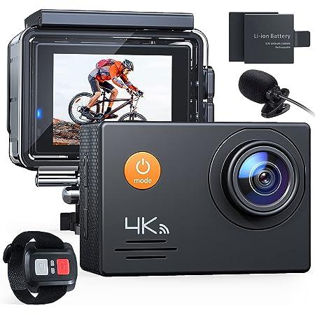 【新型】 A79 アクションカメラ 4K 2000万画素 外部マイク リモコン付き WiFi搭載 手ブレ補正40M 水中 防水カメラ 2インチ液晶画面 170度広角 HDMI出力 多数アクセサリー バイクや自転車や車に取り付け可能 スポーツカメラ1050mAh 大容量バッテリー2個付き 防犯カメラ ウェアラブルカメラ