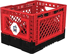 BIGANT Heavy Duty Collapsible & Stackable Plastic Milk Crate - IP403026, 26 Quarts, Small Size, Red, Set of 1, Snap Lock F...