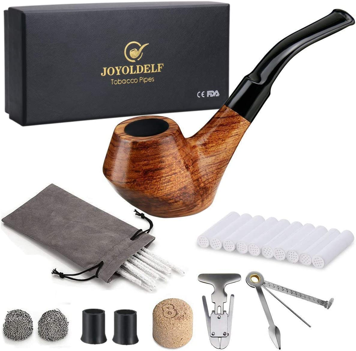 Joyoldelf Cheap mail order sales Creative Wooden Smoking Ranking integrated 1st place Pipe Box with Gift Set Rosewo