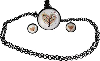 Poppies and Thyme Dainty Pendant Necklace Tree of Life from Small Circle Simple Necklaces for Women - 1 inch
