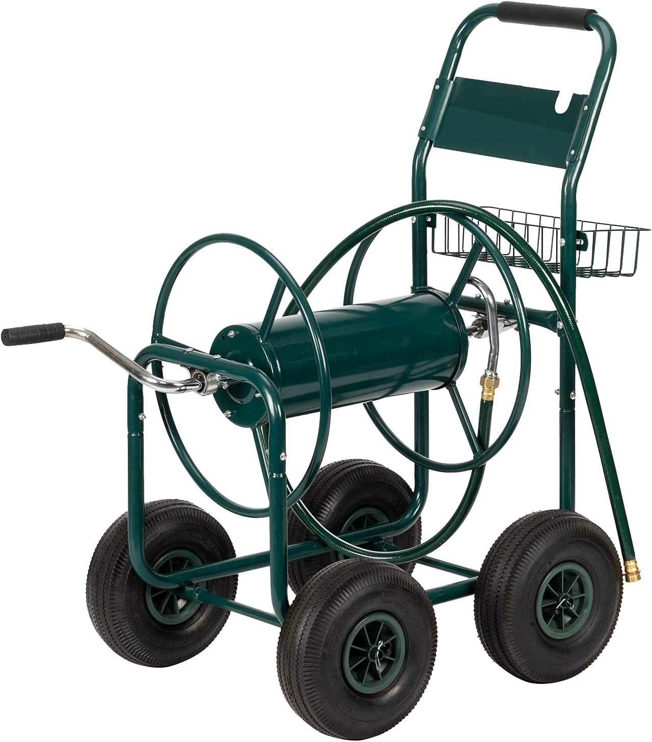 VINGLI Garden Hose Reel Cart, 4-Wheel Portable Residential Hose Reel Cart, Hose Guide System with Storage Basket, Rust Resistant, for Family Yard, Garden Industrial and Farm