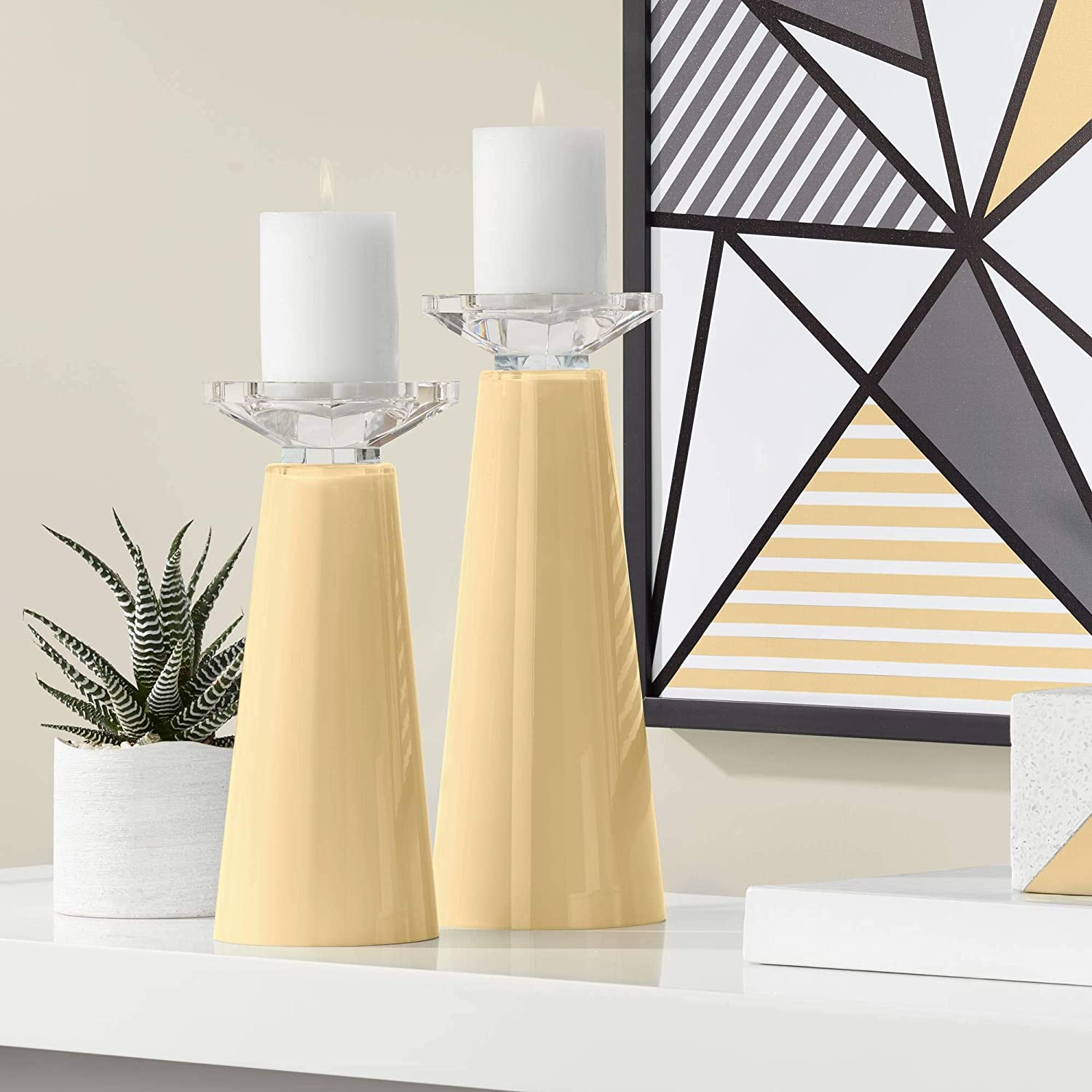 Max 86% OFF Color + Plus Meghan Humble Gold Candle Pillar Glass Set Choice Holders