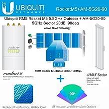 Ubiquiti RocketM5 Rocket M5 5.8GHz Outdoor + AM-5G20-90 5GHz Sector 20dBi 90deg