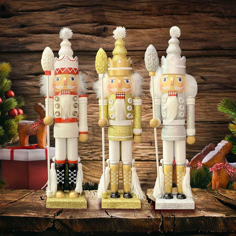 statuetta in piedi bianco Elibeauty decorazione per le vacanze allaperto Pupazzo tradizionale in legno per schiaccianoci da 40,6 cm motivo: schiaccianoci di Natale oro