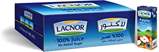 Lacnor Essentials Apple 100% Juice, No Added Sugar, 180 ML Pack of 32
