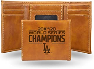 """Rico 2020 Los Angeles """"LA"""" Dodgers World Champions Laser Engraved Trifold Wallet - Brown"""