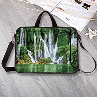 """Waterfall Large Capacity Neoprene Laptop Bag,Moss Greenery Reflection on River Landmark in Bosnia and Herzegovina Picture Laptop Bag for 10 Inch to 17 Inch Laptop,13.8""""L x 10.2""""W x 0.8""""H"""