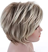 Rosa Star Short Curly Wig Ombre Brown to Blonde Hair Wigs Natural Heat Resistant Full Wig for Women