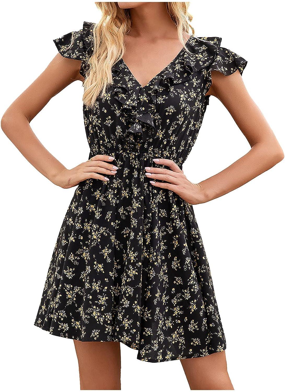 Summer Dresses for Women Ruffle Short Sleeve Beach Sundress Casual V Neck Boho Dress Floral Graphic Print Mini Skirt