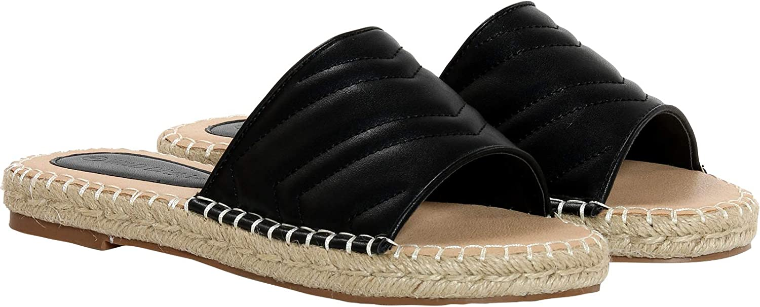 WILD DIVA LOUNGE Women's Casual/Dressy Open Toe Quilted One Band Slide Sandals