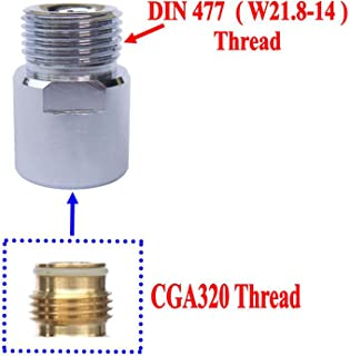 New CO2 Cylinders Tank CGA320 Thread to W21.8-14 Converts Adapters