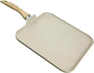 """Country Kitchen 11"""" Nonstick Aluminum Griddle with Soft Touch Silicone Handle – Marble Cream"""
