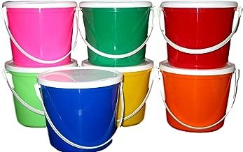 Talisman 7 Plastic Buckets & Lids, 80 Ounces 1 each Red Blue Yellow Orange Lime, Pink & Green